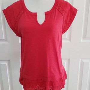 Democracy Red Top with eyelet detail SZ S